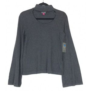 Vince Camuto Sweater gray bell sleeve choker neck